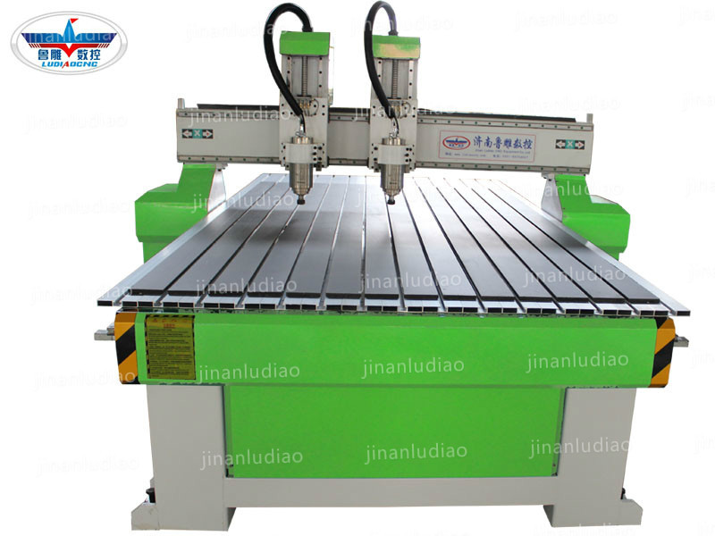 LD-1325  Double-Spinder CNC Router Machine with  T slot press
